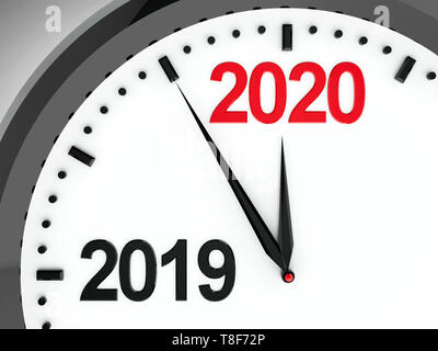 Black clock with 2019-2020 change represents coming new year 2020, three-dimensional rendering, 3D illustration - Stock Photo