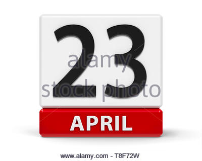 Red and white calendar icon from cubes - The Twenty Third of April - on a white table - World Book and Copyright Day, English Day, Spanish Day, three- - Stock Photo