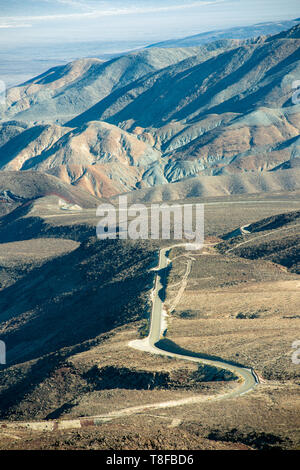 Highway 190 winds through mountains near Panamint in Death Valley National Park, California, USA - Stock Photo