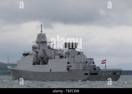 HNLMS De Ruyter (F804), a De Zeven Provincien-class frigate operated by the Netherlands Navy, passing Gourock during Exercise Formidable Shield 2019. - Stock Photo