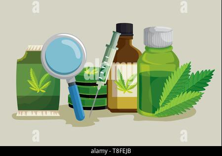 cannabis seeds bag with magnifying glass and ointment Stock Vector