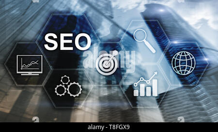 SEO - Search engine optimization, Digital marketing and internet technology concept on blurred background - Stock Photo
