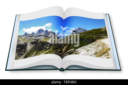 Opened photobook isolated on white background with wonderful view of the Dolomites (Italy). On background the view of Auronzo refuge: the starting poi - Stock Photo