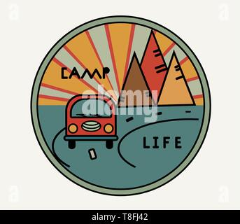 Round sticker with vintage van in retro style. Inscription Camp Life. The road, the sun in the mountains. Symbol of free travel. Camper tourism - Stock Photo