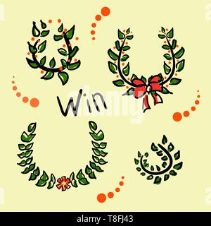 Collection Wreaths for the champion. Funny drawings in the style of a sketch. Laurel branches or olive leaves for the winner. Sports award. Business - Stock Photo