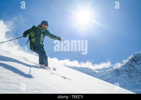 Expert skier on Monte Rosa glaciers in impressive high alpine nature - Stock Photo