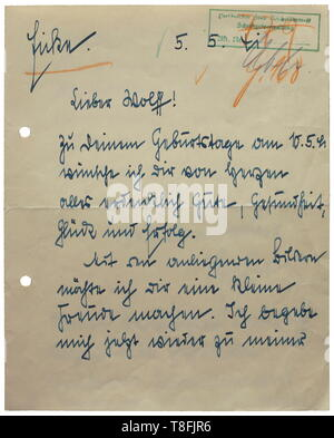 Theodor Eicke - a personal letter to Karl Wolff Handwritten letter by Eicke dated 5 May 1941 with twofold original signature and green ink stamp (tr) 'Personal Staff Reichsführer SS'. 'Dear Wolff! To your birthday...now I will proceed again to my family at the front...I give my Reichsführer another obedient salute'. historic, historical, 20th century, 1930s, 1940s, Waffen-SS, armed division of the SS, armed service, armed services, NS, National Socialism, Nazism, Third Reich, German Reich, Germany, military, militaria, utensil, piece of equipment, utensils, object, objects,, Editorial-Use-Only - Stock Photo