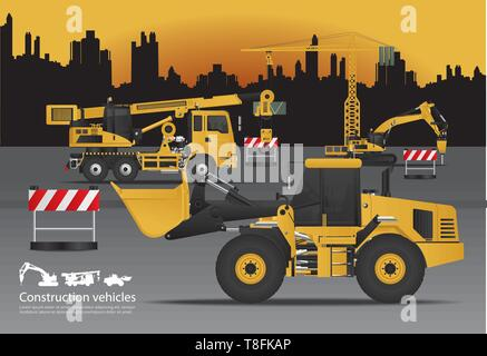 Construction Vehicles Set with Building Background Vector Illustration - Stock Photo