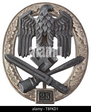 A General Assault Badge, Grade II for 25 Days of Engagement A probably unused, near mint badge by maker Josef Feix Söhne in Gablonz, with the raised, stamped designation 'JFS'. The silver-plating on the oak leaf wreath is not affected by the blistering usually present due to the zinc used. Magnetic attachment pin system. An impressive example. Width 48 mm. Weight 30.2 g. historic, historical, awards, award, German Reich, Third Reich, Nazi era, National Socialism, object, objects, stills, medal, decoration, medals, decorations, clipping, cut out, cut-out, cut-outs, honor, ho, Editorial-Use-Only - Stock Photo
