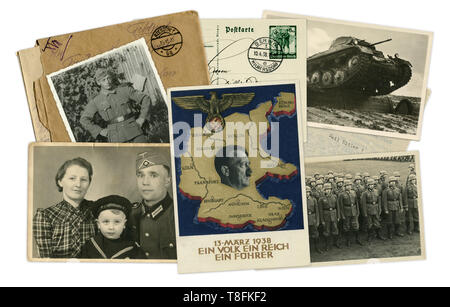 Historical photo collage of photos, postcards and letters. Adolf Hitler in the center. Soldiers, tanks. Destiny of man. Germany, world war II, 1939 - Stock Photo
