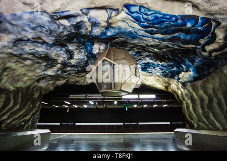 STOCKHOLM, SWEDEN Stockholm metro T-bana underground station in Sweden. Stockholm metro is known for its artistic station interiors. - Stock Photo