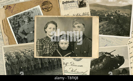 Historical photo collage of photos, postcards and letters. A German family in the center. Soldiers, tanks. Fate of people. Germany, world war II, 1939 - Stock Photo