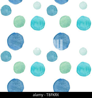 watercolor simple seamless background with polka dots in soft colors - Stock Photo