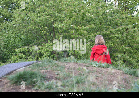 Little toddler girl in a rad coat walking in the nature all alone, by her own, seen from behind - Stock Photo