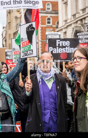 National Demonstration for Palestine, Man in purple suit, London, UK 11/05/2019 - Stock Photo