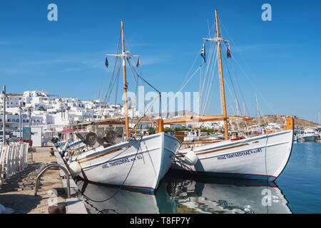 Fishing boats in Naoussa port, Paros island, Cyclades, Greece - Stock Photo