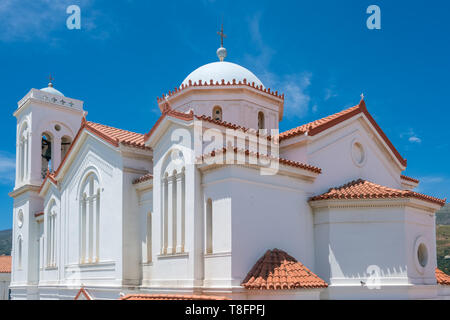 Metropolis Andros church in Chora town on Andros island - Stock Photo
