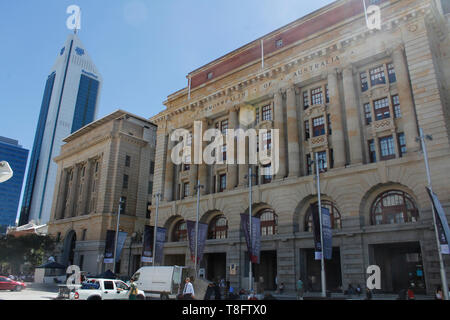 Perth, Western Australia,Australia -24/01/2013: Commonwealth Bank and General Post Office at the Forrest Place, Central City Area 3 Forrest Place. - Stock Photo
