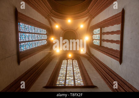 The ceiling inside of the Imperial Cathedral of Saint Bartholomew , Frankfurt Germany - Stock Photo
