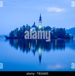 Early morning view of Bled island, Slovenia - Stock Photo