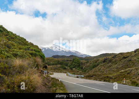 On The Road to Mount Ruapehu, Tongariro National Park, North Island of New Zealand - Stock Photo