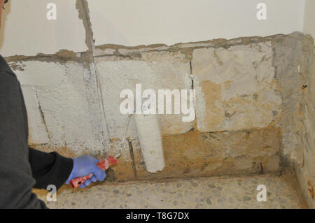 Home improvement. A room is being painted with white paint - Stock Photo