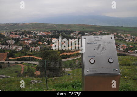 The Dado observation Point overlooking Metula, Upper Galilee, Israel - Stock Photo