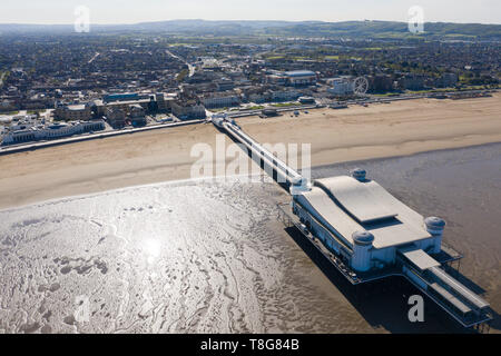 Weston-Super-Mare, North Somerset, UK. 12th May 2019. Aerial image of Weston-Super-Mare's Grand Pier. - Stock Photo