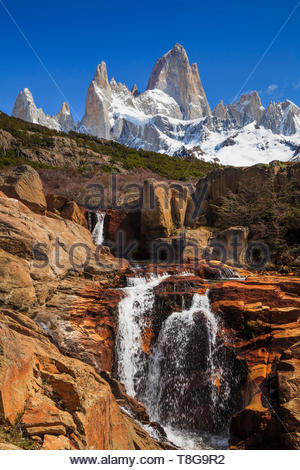 Picturesque Waterfall at Mount Fitz Roy. Patagonia. Argentina. - Stock Photo