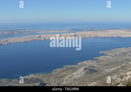 Northern Adriatic coastline photographed from Velebit Mountain - Stock Photo