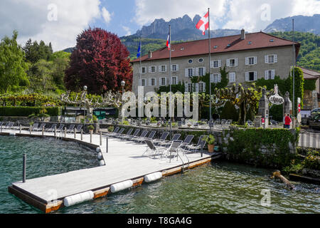 L'Abbaye, renowned Hotel and restaurant, Talloire, Annecy Lake, Haute-Savoie, France - Stock Photo