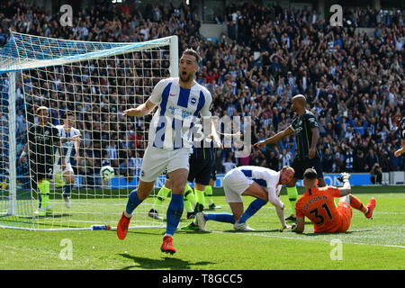 BRIGHTON, ENGLAND - MAY 12:    Shane Duffy (4) of Brighton and Hove Albion celebrates after Glenn Murray (17) of Brighton and Hove Albion scores a goal to give a 1-0 lead to the home team  during the Premier League match between Brighton & Hove Albion and Manchester City at American Express Community Stadium on May 12, 2019 in Brighton, United Kingdom. (MB Media) - Stock Photo
