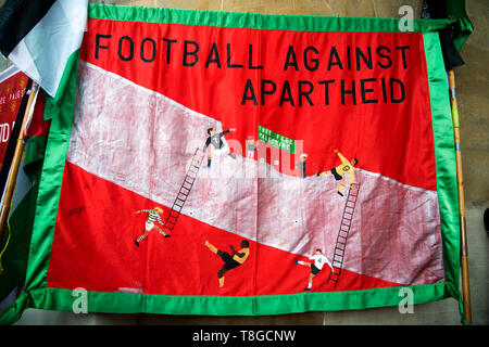 May 11th 2019. Portland Place London UK. Demonstration for Palestine. A banner for 'Football against apartheid' - Stock Photo