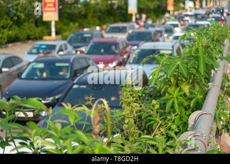 Green trees on road side with background of cars on urban street in traffic jam at rush hour in big city - Stock Photo