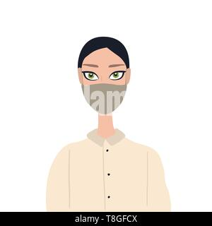 Beautiful caucasian young woman with big green eyes wearing medical face mask Healthcare antybacterial antiallergic concept - Stock Photo
