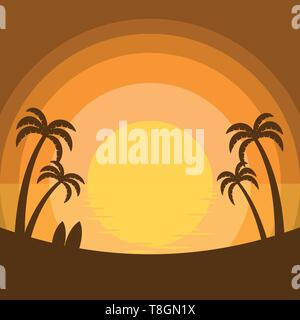 Simplified summer sunset at the sea with silhouette of coconut trees and surfboards on the beach - Stock Photo