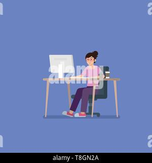Young woman with glasses in casual clothes working on desktop computer at desk with pen tablet, coffee cup and cactus in flat style - Stock Photo
