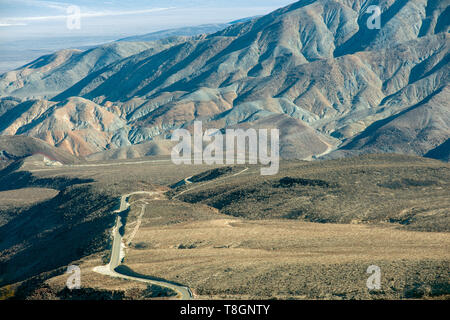 Highway 190 through the mountains near Panamint in Death Valley National Park, California, USA - Stock Photo
