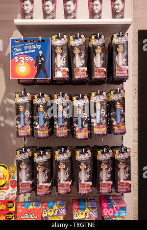 ELVIS PRESLEY Pez dispensers of sale at It'sugar, a candy by the pound chain store. In Greenwich Village, New York City. - Stock Photo