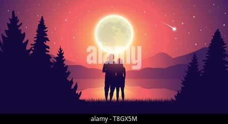 couple in love by the lake romantic full moon and starry sky vector illustration EPS10 - Stock Photo