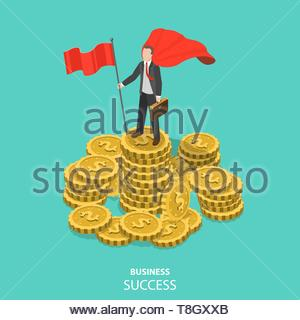 Business success flat isometric vector concept. Businessman dressed with superhero cloak with flag in his hand is standing on the pile of the coins. - Stock Photo