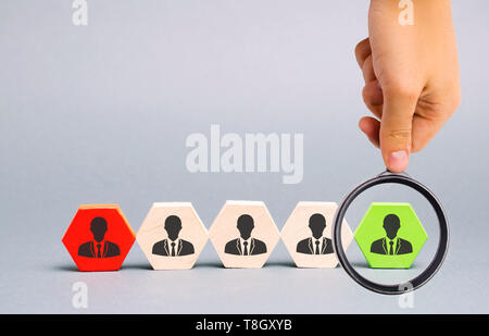 The leader chooses the person in the team. Talented worker. Human resources. Working staff management. The dismissal of an employee. Hiring. Recruitin - Stock Photo