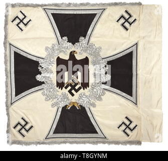 A troop flag of the infantry Made entirely of white silk with silver fringe on three sides. With a white disc on both sides, bordered by a silver embroidered oak leaf wreath with central brown army eagle, in the background an Iron Cross of black silk, bordered in silver. The corners with black swastikas, bordered in silver. Colour-fresh, the pole-sleeve with traces of nails, barely noticeable stains. Dimensions circa 120 x 120 cm. In family possessions since the end of the war. historic, historical, infantry, military, armed forces, militaria, ob, Additional-Rights-Clearance-Info-Not-Available - Stock Photo
