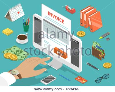 Invoice flat isometric vector concept of online payment, shopping, banking, accounting, tax - Stock Photo