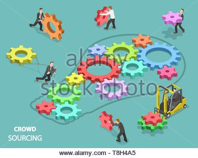 Crowdsourcing flat isometric vector concept. Team of people are filling the light bulb outline with gears of different sizes and colors, symbolizing t - Stock Photo