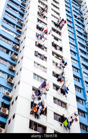 Laundry Hanging Out To Dry At A Tower Block, Singapore, South East Asia - Stock Photo