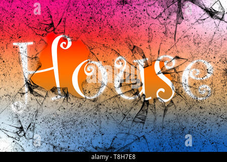 House music concept with House word written behind the broken glass - Stock Photo