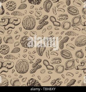 Seamless pattern with seeds and nuts. Vector  illustration for your design - Stock Photo