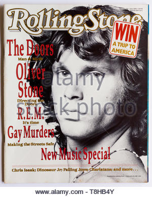 The cover of Rolling Stone magazine, issue 458, June 1991, featuring Jim Morrison of The Doors - Stock Photo