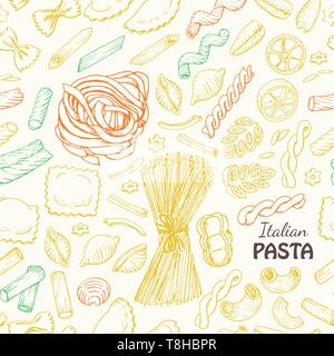 Seamless pattern with Italian pasta. Vector  illustration for your design - Stock Photo